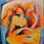 """Картина маслом """"Девушка с кникой"""" 40*40. Мартынчук Ю."""