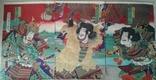 Япония. Укиё-э. Триптих. Тоёхара Кунитика. 1885 г.