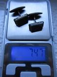 Запонка серебро 875пр. голова 2С4 +нат.камень 7,47г., фото №2