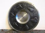 Большая антикварная настенная тарелка олово Охота клеймо Германия