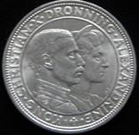 2 крони 1923 року, Данія, Кристіан X, «Срібна річниця весілля», срібло, 15 г