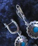 Серьги и кулон.Серебро 925пр.Бирюза и марказиты., фото №4