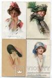 Живопись.модерн.женские головки шляпа 4 шт, фото №2