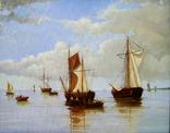 ,,Рыбацкие лодки,, 35х45см, худ. С Кольба