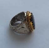Кольцо с Сапфиром 12 карат и бриллиантами 41 г серебра 925 пробы photo 2