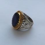 Кольцо с Сапфиром 12 карат и бриллиантами 41 г серебра 925 пробы photo 4