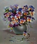 """""""Цветочное настроение"""",Авторская, ручная работа,итальянский холст 50*60см,масло photo 1"""