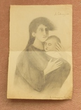 Портрет женщины с младенцем. Рисунок карандашом. photo 1