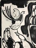 """Генриетта Левицкая, графика """"Женщина с птичкой"""" photo 7"""