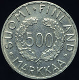 Финляндия 500 марок 1952 аUnc серебро