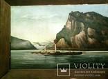157. Старинная картина ''Пароход Кайзер'', F Lorenz, ХIХ в, Германия. Оригинал.
