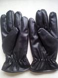 Перчатки мужские кожзам черные М - XL