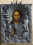 Икона Христа Спасителя в серебряном кованом окладе с эмалями