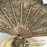 Шкатулка пудреница из кости с серебряным веером, фото №5