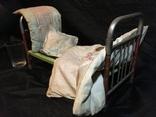 Кукольная кровать с постелью и матрасом
