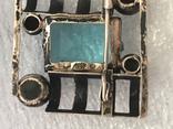 Серебряная брошка с камнем 875 photo 7
