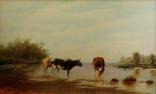 Картина маслом на холсте ′Коровы на водопое′ 2007 г., фото №3