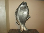 Огромный 49.0 см. поднос блюдо панно Рыба металл клеймо украшение охотничьего домика