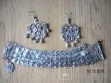 Набор винтажный (браслет серьги) филигрань, ручная работа, фото №7