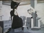 14 Мастерская у скульптора, абстракция, акварель или гуашь, бумага
