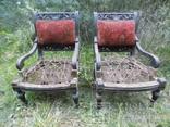 Два фотеля/м'які крісла 19ст. різьба, фото №2
