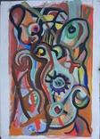 """Одесса, Нх, """"Абстрактная композиция"""", картон, гуашь,48*33.5см, фото №2"""