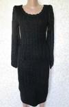 Платье вязанное тёплое удлинённое миди чёрное р 42-44