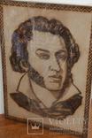 Портрет Пушкина Выжженный запечатанный в слюде, фото №2