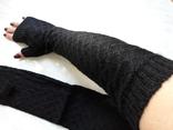 Черные длинные перчатки митенки рукава
