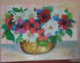 """Картина юной художницы """"Корзинка с цветами"""", фото №3"""
