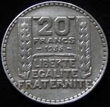 20 франків 1933 року, ІІІ Французька республіка, «Маріанна», срібло photo 2