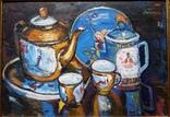 """Троян Г. """"Натюрморт с китайским фарфором"""", 1986р., 34х49 см, фото №3"""
