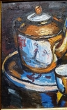 """Троян Г. """"Натюрморт с китайским фарфором"""", 1986р., 34х49 см, фото №4"""
