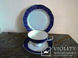 Чайное антикварное трио чашка блюдце тарелка клеймо Von Schierholz Германия photo 1