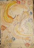 """Одесса,В.Сиренко""""Абстрактная композиция"""",бумага, тушь, акварель,30*21см, фото №2"""