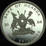 Уганда 2000 шиллингов 2004 пруф серебро 999 пробы 31,1 грамм