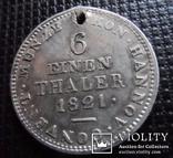 1/6 талера 1821 B Hannover Ганновер Georg IV. 1820-1830 Серебро (7,1,6), фото №5