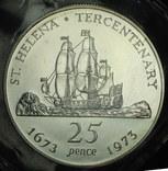 Остров Св. Елены крона 1973 серебро 925 пробы 28,28 грамм родная запайка