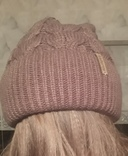 Теплая шапка с флисом и отворотом цвет капучино