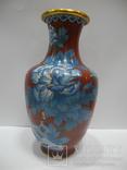 Большая Ваза Клуазоне ( Старый Китай ) 30 см., фото №2
