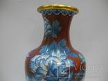 Большая Ваза Клуазоне ( Старый Китай ) 30 см., фото №3