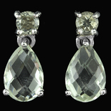 Серебряные серьги с зелеными аметистами, фото №2
