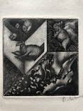 "Генриетта Левицкая, графика ""Год Овцы. Из серии ""Аксиниана"" 1990г."