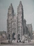 1847г. Цветная Гравюра Кафедральный Собор 19 век