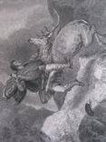 1847г. Гравюра Охотничья сцена Дункан с оленем - смертельный поединок 19 век
