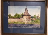 Сторожевая башня (Псковский кремль). Акварель.1975. Андреев А.К.,