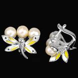 Серьги с жемчугом и эмалью, фото №3