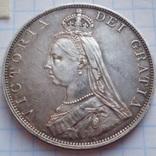 Двойной флорин 1887 год, Англия, Виктория, серебро.