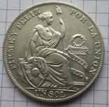 Перу, 1 соль 1934 года, серебро 25,00 грамма