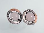Серьги с розовым кварцем и фианитами, фото №2